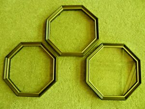 Octagonal Wooden Collector Plate Frames with Gold Inner Rim
