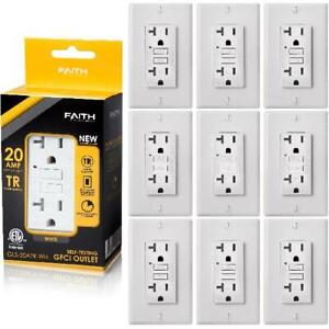 Faith 20A GFCI Outlets Tamper-Resistant GFI Receptacles with Wall Plate, 10 Pack