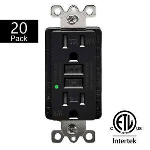 20PK 15A GFCI Outlet Receptacle with Wall Plate LED Indicator ETL Listed Black