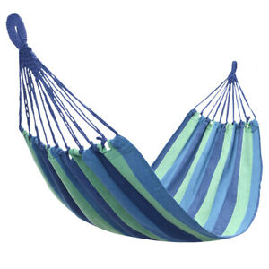 Outdoor Camping Hammock Hiking Swing Patio Garden Bed Portable Cotton Blue