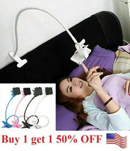 Flexible 360 Clip Mobile Cell Phone Holder Lazy Bed desk Bracket Mount Stands us