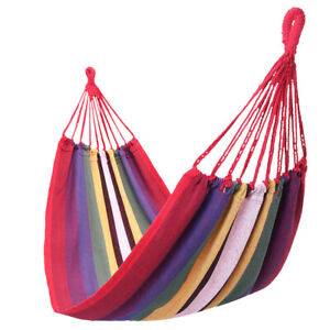 Outdoor Camping Hammock Hiking Swing Patio Garden Bed Portable Cotton Red
