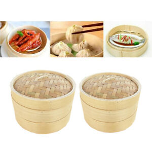 2X Bamboo Steamer Basket Chinese Asian Dim Sum Rice Meat Buns Fish Steamer Lid