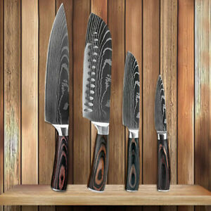 4 Pcs Kitchen Knife Set High Carbon Stainless Steel Damascus Pattern Chef Knife $49.99