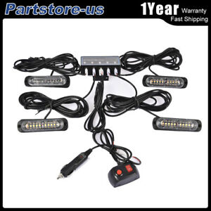 4PcsX Amber White Strobe Light 10LED 12W Hazard emergency Lamp Kit universal