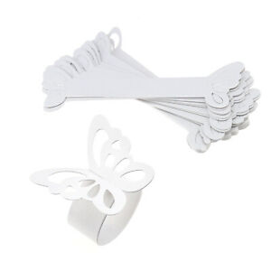 50 x White Butterfly Napkin Ring Serviette Holder Banquet Table Party Wedding