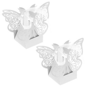 50x White Favor Wedding Sweet Box Boxes Kit Butterfly Laser Cut Chocolate Gift