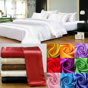 HOTEL BEDDING 1000TC 3PC SATIN SILK FITTED SHEET & PILLOW CASE ALL COLOR &-SIZE