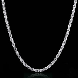 Diamond Cut Rope Chain Necklace Sterling Silver Solid 925 Stamped 16 30 Real $19.99