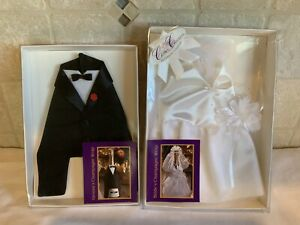 Bride and Groom Wedding Dress & Tux Champagne Bottle Covers Boxed