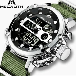 Megalith Mens Rugged LED Tactical Luminous Waterproof Military Watch Gift Idea