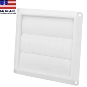 Dryer Air Vent Cover Cap 4'' White Exterior Wall Vent Hood Outlet Airflow Vent