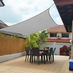 GRAY color Rectangle Sun Shade Sail Yard Patio Canopy Pool Top UV Block Curved