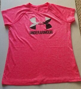Girls Size Youth XL Under Armour T Shirt Loose Fit HeatGear Pink Black $12.99