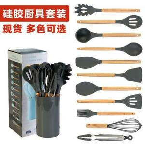 11 Pcs Silicone Cooking Utensils with Wood Handles Nonstick Cookware Kitchen set