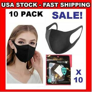 10 Pack Black Face Cover / 3D Mask Washable Cloth Reusable Breathable US Seller