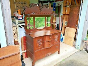 OAK SIDEBOARD antique for restoration worthy of the effort DELIVERY AVAILABLE