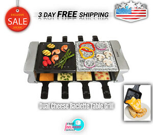 Dual Cheese Raclette Table Grill W Nonstick Grilling Plate And Cooking Stone NEW