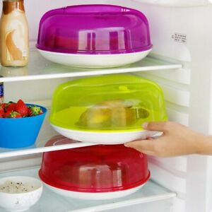 Microwave Food Cover Plate Vented Clear Plastic Lid Splatter Protector Kitchen