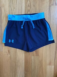 Under Armour Girls Heat Gear Loose Fit Navy Turquoise Trim Shorts Size Youth S $12.99
