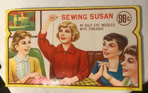 Vintage sewing: SEWING SUSAN needle kit not complete F47 $6.40