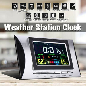 Multifunctional Digital Alarm Clock LCD with Weather Humidity Calendar Display