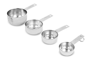 Set of 4 Stainless Steel Measuring Cups Stack able Kitchen for Cooking Baking
