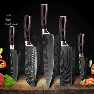 Kitchen Knives Set Japanese Damascus Style Pattern Stainless Steel Chef Knife