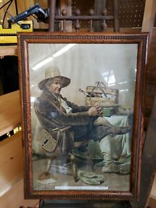 Antique LC Earle Waiting for the Fishing Party Chromolithograph Print Framed $99.99