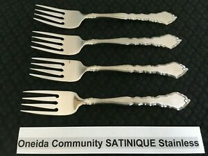 Lot of 4 Oneida Community Satinique Stainless Salad Forks Free Ship