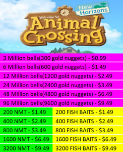 Animal Crossing:New Horizons;BellsNook Miles TicketsFish Baits Fast Delivery $9.49