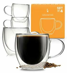 Coffee or Tea Glasses Set of 4-8oz Double Wall Thermal Insulated Cup with Handle