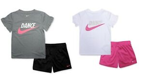 New Nike Little Girls 2 Pc. Dance Futura Logo T Shirt amp; Mesh Shorts Set MSRP $36 $19.99