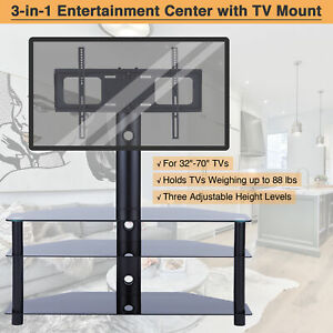 Glass TV Stand Mount Aluminum 3-Tier Cabinet for 32