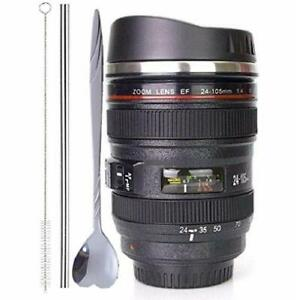 Coffee MugCamera Lens Cup with Sipping LidSuper Bundle(Spoon+Straw+Brush)Sta