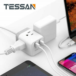Compact Power Strip for Travel with 3 Outlets, 2 USB Charging Ports
