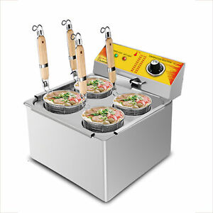Electric Pasta Cooker | Noodle Machine | 4-Basket Hot Pot | Stainless Steel