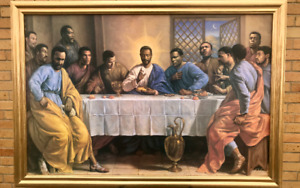 African American Art Black Art Last Supper Wood Framed Textured Picture Print