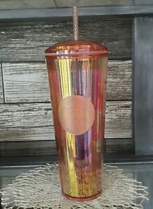 Starbucks Venti Kaleidoscope Iridescent Summer 2020 Dome Tumbler Rose Gold 24 OZ