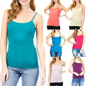 Womens Spaghetti Strap Tank Top Cropped Cotton Short Camisole Basic Layering
