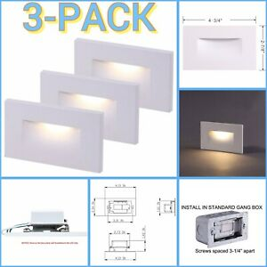 3-Pack Cloudy Bay LED Indoor Outdoor Step Light 3000K Warm White Stair CRI90