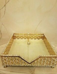New gold metal with rhinestones, flat square napkin holder