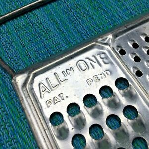 Vtg All In One Flat Shredder Grater Stainless w Wire Handles Fine Coarse Slice