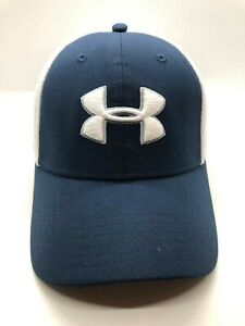 Under Armour Golf Cap Hat Men Fitted M L Mesh Blue White Polyester $16.00