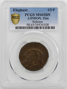 ELEPHANT LONDON THIN 12 P PCGS MS 65 BN