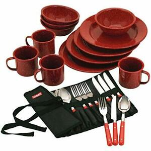Coleman 24 Piece Enamel Dinnerware Set Red Outdoor Cooking Travel Camping Hiking