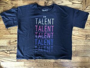 Under Armour Girls Youth Black Talent Crop T shirt Top Size X Large $8.50