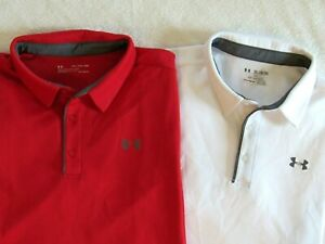 Lot 2 UNDER ARMOUR HeatGear Men's 2XL Loose Red White Golf Polo Shirts EXCELLENT $33.95