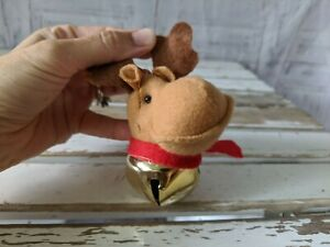 Christmas Reindeer Head Doll Bell Pendant New Year Tree Hanging Ornament Decor