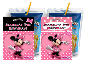 PINK MINNIE MOUSE CUSTOM CAPRI SUN LABELS BIRTHDAY PARTY FAVORS Suns STICKERS 2